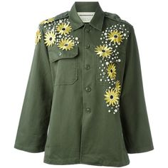 Night Market Flower Application Military Jacket (16.615 RUB) ❤ liked on Polyvore featuring outerwear, jackets, coats, coats & jackets, green, cotton field jacket, green military jacket, cotton army jacket, collar jacket and long sleeve jacket