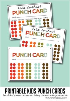Simple idea to teach kids responsibility and to stay on task throughout the year - kids printable punch cards! | Thirty Handmade Days