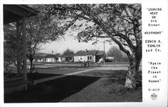 """""""Looking West on 9th Street Westmont"""" Edwin A. Tomlin and Co. Pomona, Calif. Pomona California, Old Pictures, Family History, Places Ive Been, Roots, Childhood, Cabinet, Street, Architecture"""
