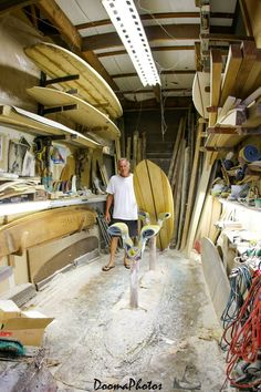 "sonsofkerouac: "" This Is What An Old School Hand Shaped Surfboard Room Looks Like. — with Stuart Mac Robbie and Fred William Hall. Photo: Dooma """