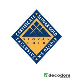 Certifikát Slovak GOLD EXCLUSIVE - Ocenenie za rok 2012 - vynikajúce ekonomické a hospodárske výsledky Decodom, spol. s r.o.