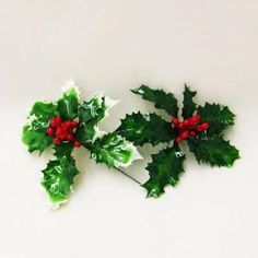 """5"""" Lacquered Green Holly Leaves with Red Berries Artificial Christmas Craft Pick"""