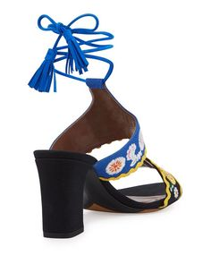 7d1841425caf Tabitha Simmons - Thais Embroidered Ankle-Wrap Sandal