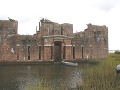 FORT PROCTOR — Located on the shores of Lake Borgne just north of the mouth of Bayou Yscolskey, Fort Proctor was one of six new masonry forts built in coastal Louisiana following the War of 1812.  Construction began in the 1850s under the supervision of Captain P.G.T. Beauregard. Hurricane damage and the outbreak of the Civil War caused construction to cease and, as a result, Fort Proctor was never garrisoned. Completely cut off from all land access, Fort Proctor can now be reached only by boat.
