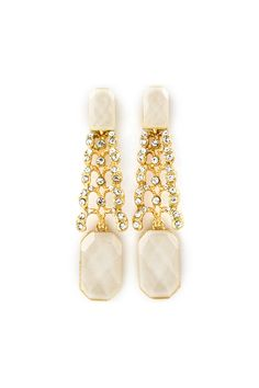 Deco Laurel Earrings in Ivory Shimmer on Emma Stine Limited