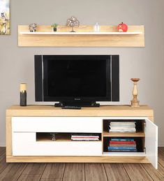 Cartier engineered wood tv unit with shelf in white high gloss & oak colour by hometown Entertainment Center Makeover, Entertainment Center Kitchen, Entertainment Stand, Tv Unit Online, Wood Tv Unit, Tv Unit Furniture, Buy Tv, Oak Color, Colour
