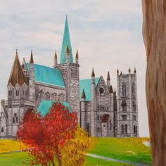 Here is a progress photo of a commission I'm currently working on! 😆 It's an acrylic painting of a famous medieval church here in Trondheim called Nidarosdomen. . This is only a little section of the 70×50cm canvas. Stick around to see the full finished painting, which will be decorated with many colorful autumn trees 🍁 . #progressphoto #progresspicture #acrylicpainting #nidarosdomen #churchpainting #medievalart #medievalchurch #norwegianart #autumnart #norskkunst #akrylmaling Autumn Art, Autumn Trees, Trondheim, Currently Working, Medieval Art, Acrylic Painting Canvas, Amazing Art, Barcelona Cathedral, Colorful