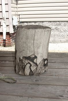 Driftwood Stool with mushroom pyrography design