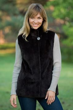Women`s Stephanie Reversible Mink Fur Vest $995.00