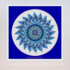 Mandala Teardrops aqua blauw - kruissteek borduurpatroon - 178 x 177 kruissteken - 32 x 32 cm    Dit digitale product bevat een pdf-bestand met:  -