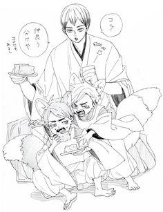Haikyuu Manga, Haikyuu Funny, Haikyuu Fanart, Kuroo Tetsurou, Kagehina, Anime Art Girl, Anime Guys, Neko, Miya Atsumu
