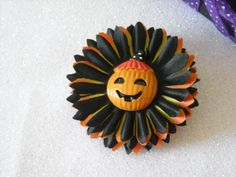 Halloween Pumpkin Black and Sunburst Orange by OctoberPetals, $13.25