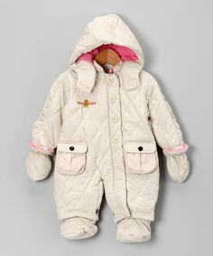 Cream & Baby Pink Double-Pocket Snowsuit