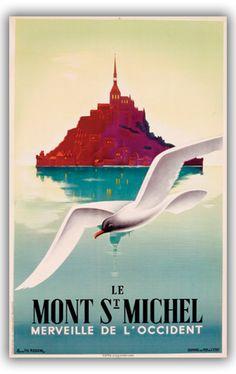 Le Mont St Michel Poster Vintage Travel #Normandy by Pierre Fix-Masseau
