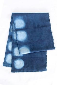 Natural Indigo Shibori Linen Scarf - Soft, linen scarf dyed in a natural indigo dye vat. I use a fructose fermentation vat with natural ingredients. The linen has been dyed in indigo with a traditional itajime (shape resist) shibori technique using circles to create a repeating pattern. Scarf has been dipped multiple times to achieve a deep indigo blue tone. The edges have been finished with a 1/2 inch seam allowance to allow for a natural but controlled fray.