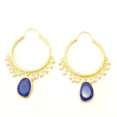 Get this designer statement pearl blue hoop earrings in your The Little Bauble Box. Subscribe today.  #thelittlebaublebox #jewelrysubscription service #India #designerjewelry #fashion #jewelry #designer Jewelry on rent #statementjewelry #necklace #ring #earring #bracelet #cuff