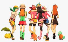 Aw! Pokemon female trainers.