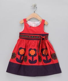 Take a look at this Faded Red & Purple Flower Bow Dress - Infant, Toddler & Girls by the Silly Sissy on #zulily today!