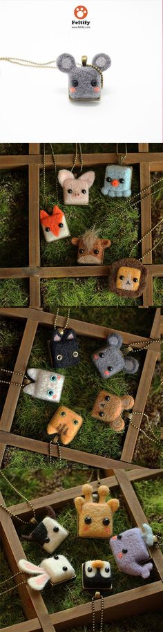 Needle Felted Felting Animals Necklace Cute Jewelry #handmade #gift #cute #felt #jewel