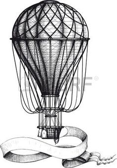 globo aerostatico: Globo de aire caliente de la vendimia con la bandera
