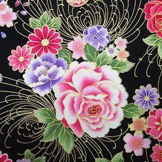 【楽天市場】和風花柄 着物風 鼓と扇と花模様 黒【和柄 生地 布地】:生地BANK