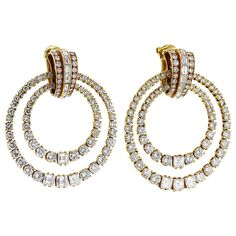 Cartier Diamond Gold Double Hoop Earclips | From a unique collection of vintage hoop earrings at https://www.1stdibs.com/jewelry/earrings/hoop-earrings/
