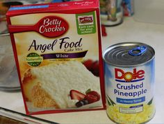 2 ingredient cake...angel food cake mix and crushed pineapple