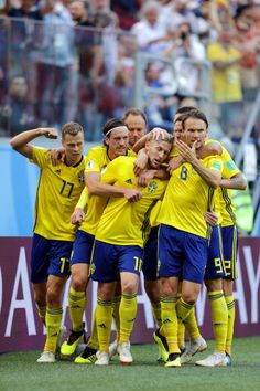 Emil Forsberg of Sweden celebrates with teammates after scoring his team's first goal during the 2018 FIFA World Cup Russia Round of 16 match between Sweden and Switzerland at Saint Petersburg Stadium on July 2018 in Saint Petersburg, Russia. World Cup Russia 2018, World Cup 2018, Fifa World Cup, Sweden Football, Soccer Tournament, International Football, The Championship, Twenty One, Cristiano Ronaldo