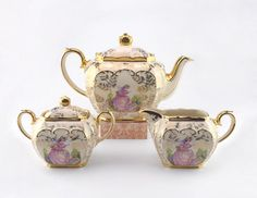 Stunning Sadler Cube Teapot with Cream and Sugar - Pinkie Sadler Set - Collectible Vintage Teapot - Great Condition - Birthday Gift