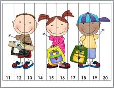 Back to School Counting Puzzles - Set 1 Counting Puzzles, Number Puzzles, Maths Puzzles, Math Numbers, Preschool Math, Kindergarten, Math Resources, Activities For Kids, Montessori Practical Life