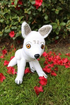 WOLF free pattern for celebrating more than 360 followers :-) Thank you so much! (inspiration: Ghost/Direwolf of Game of Thrones) MATERIALS - white (100 g), grey, black yarn - safety eyes - safety...