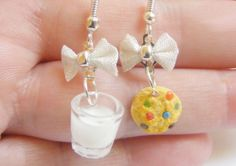 Milk and Rainbow Cookie Miniature Food Earrings  by NeatEats, £12.99
