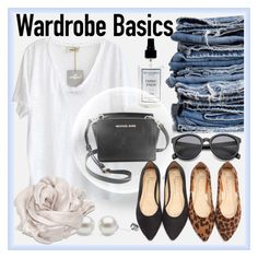 """Wardobe Basics"" by myfashionwardrobestyle ❤ liked on Polyvore featuring The Laundress, American Vintage, Therapy, MICHAEL Michael Kors, Love Quotes Scarves, denim, contestentry and pearlsofjoy"