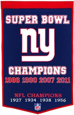 New York Giants Winning Streak Man Cave Banner - Large 38x24 banner that lists New York Giants Superbowl years - Embroidery and applique detail on wool blend felt