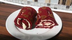 Red velvet roulade with white chocolate cream cheese