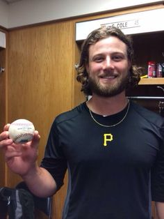 Gerrit Cole with his home run ball against the Cubs 9/7/14.