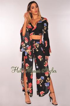 40cb77b1ad7 Midnight Floral Gauze Tie Up Bell Sleeves Palazzo Two Piece Set