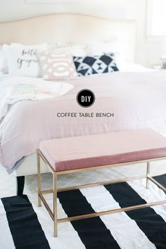 This bench was actually repurposed from a $60 coffee table! We painted the legs gold, then wrapped a piece of velvet like fabric over a precut piece of foam using nothing more than a staple gun. Boom, done! I am a little in love with this project and feel like of all of our ideas, […]