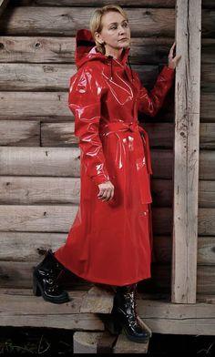 Red Raincoat, Vinyl Raincoat, Plastic Raincoat, Rain Bonnet, Rubber Raincoats, Hooded Cloak, Langer Mantel, Rain Wear, Women Wear