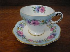 Foley Bone China Cup and Saucer Cornflower by TeacupsNMore on Etsy, $29.00