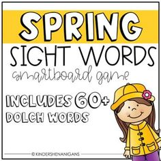 This sight word flash game has over 60 sight words based on the Kindergarten Dolch lists.