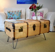 Vintage Bentwood Steamer Trunk & KEY Travel Chest Wooden