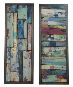 Reclaimed wood pieces creatively assembled into colorful collages inside wood frames finished in Weathered Grey.