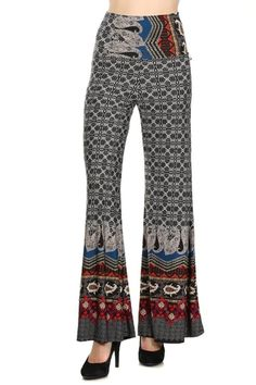 992efbc1a52 2LUV Women s Mix Print High Waisted Palazzo Pants
