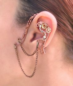 Copper Chains and Gears Steampunk Wire Wrap Ear by MelsMakeBelieve, $34.00