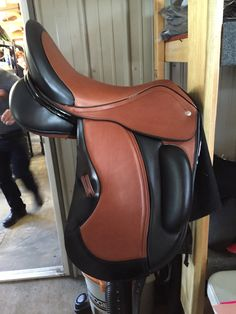 Cognac and black Custom Saddlery dressage saddle!