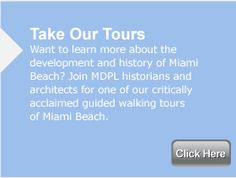This 90 walking tour provides an introduction to the Art Deco, styles found within the Miami Beach Architectural Historic District.  All tours are $20.00     Tours depart from the Art Deco Gift Shop on the following schedule:    M at 10:30 am  T at 10:30 am  W &10:30 am  Th at 10:30am and 6:30 pm  F 10:30 am  S& S 10:30 am      You do not need to make advance reservations – simply arrive at the Art Deco Welcome Center (1001 Ocean Drive – 10th Street & Ocean Drive) within 10-15 minutes of the