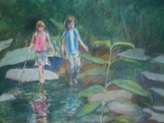 """""""Girls in a Stream"""" by Emma Kaufmann, Baltimore, MD // Two girls explore a stream on a warm summery day. // Imagekind.com -- Buy stunning fine art prints, framed prints and canvas prints directly from independent working artists and photographers. #pastel #customportraits #landscape"""