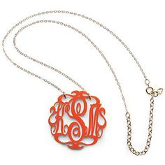 This sweet acrylic necklace, made in North Carolina by jewelry designer Kelley Shatat, marries two great Southern loves—monograms and team colors | #SouthernStyle #Monogram #Gameday | SouthernLiving.com