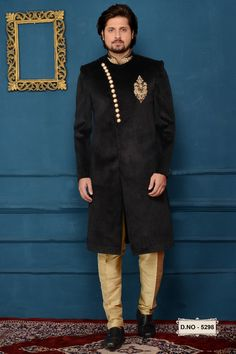 We offer a large sherwani collection including wedding, jodhpuri,sangeet, traditional, Indian and many more. Choose latest shervani designs to buy sherwani online & look the best at any occasion At Indians Fashion Blue Sherwani, Mens Sherwani, Indian Men Fashion, Mens Fashion Wear, Men's Fashion, Indian Groom Wear, Indian Ethnic Wear, Walima Dress, Anarkali Dress